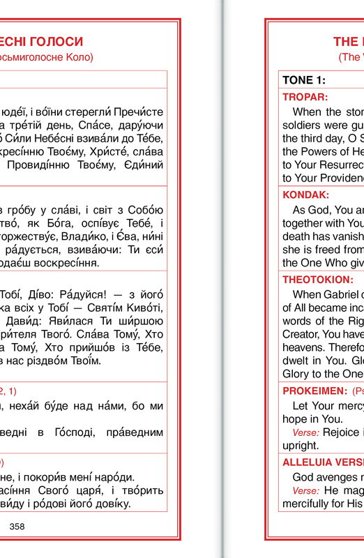 Tables for easier scanning from the Ukrainian to the English text